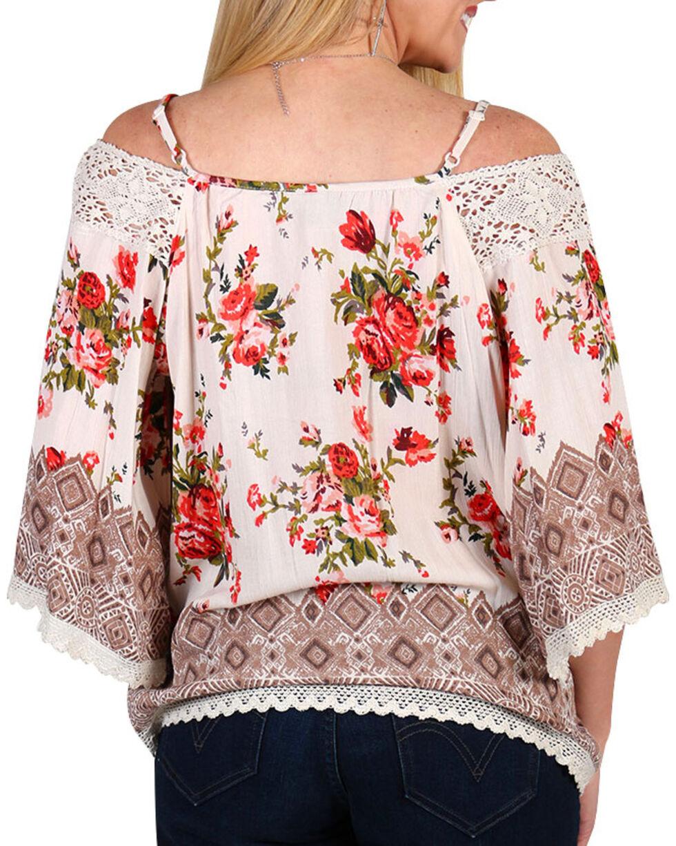 Angie Women's Floral Cold Shoulder Top, Ivory, hi-res