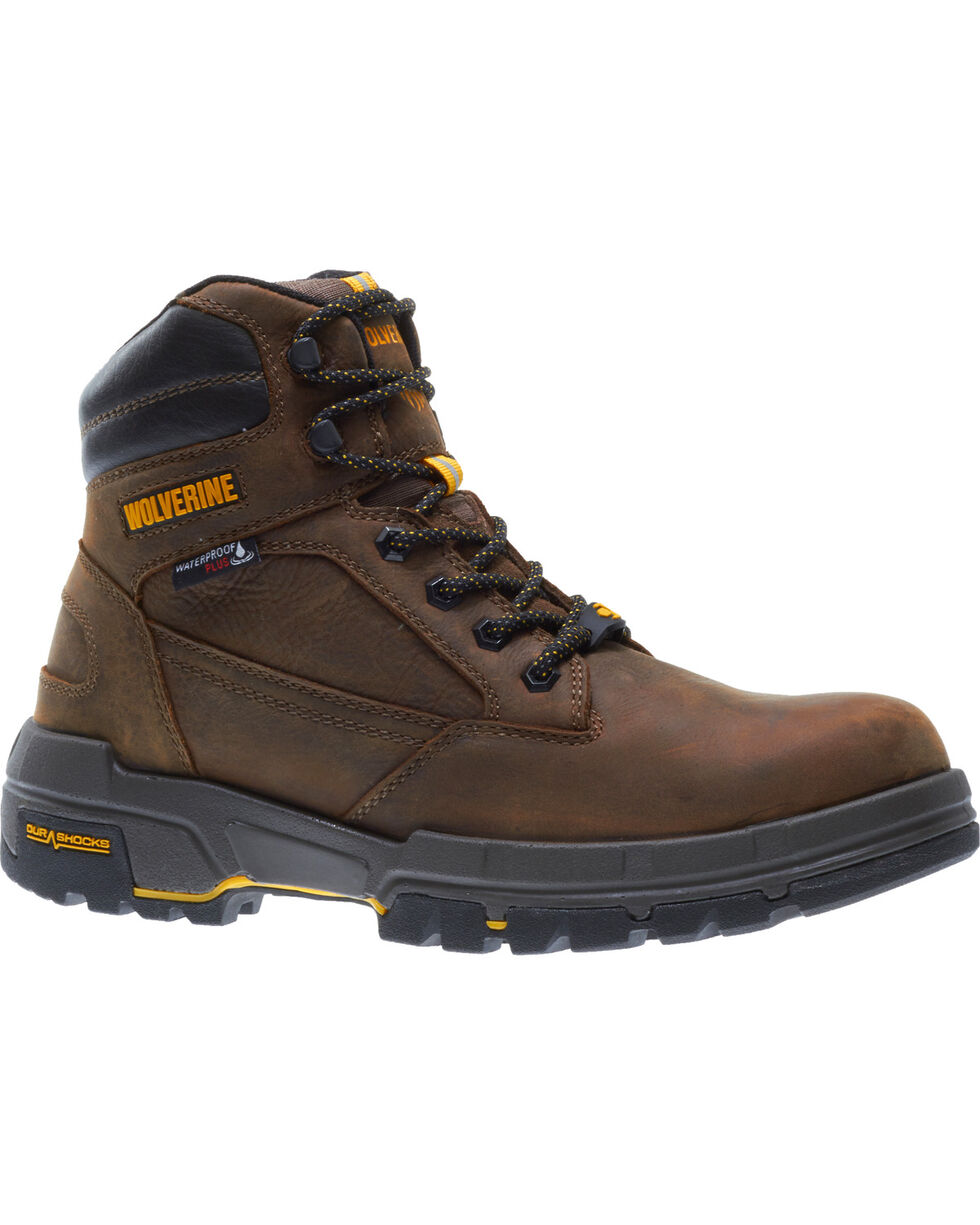 "Wolverine Men's Legend LX Durashocks 6"" Waterproof Work Boots - Composite Toe, Brown, hi-res"