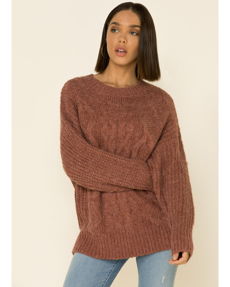 Wishlist Women's Cable Twisted Knit Sweater , Mauve, hi-res