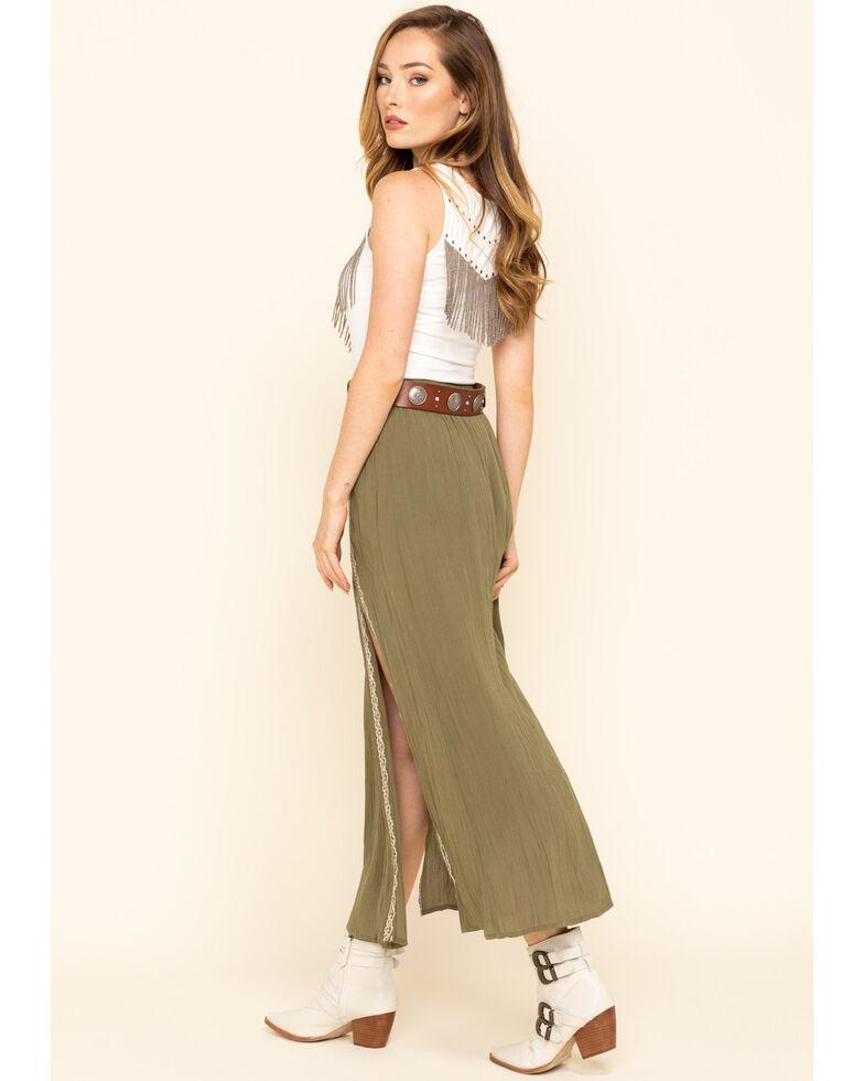 Shyanne Women's Olive Slit Maxi Skirt , Olive, hi-res