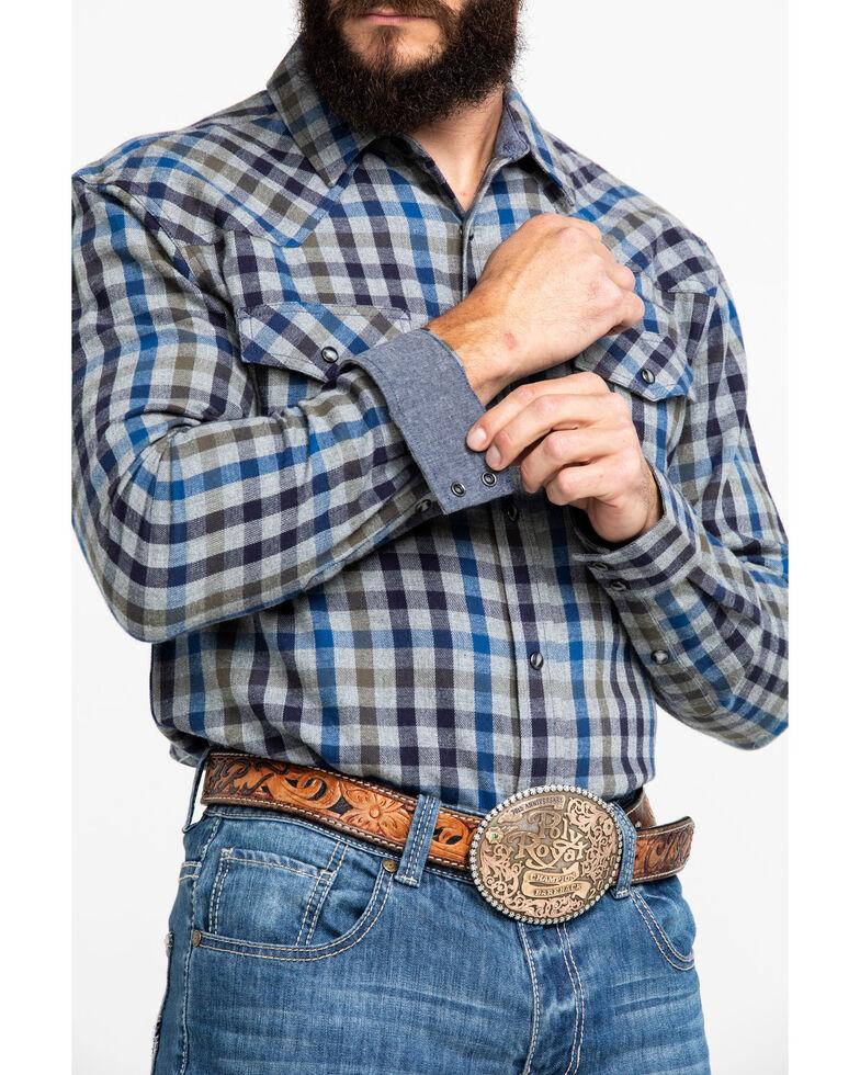 Cody James Men's Range Finder Plaid Long Sleeve Western Flannel Shirt - Big , Grey, hi-res