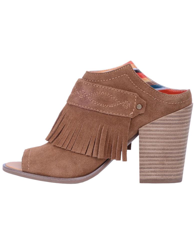 Dingo Women's Shaker Peep Toe Fringe Mules - Open Toe, Wheat, hi-res