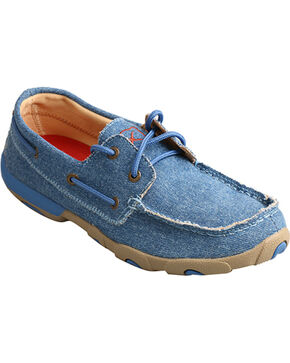 Twisted X Women's Denim Canvas Driving Mocs, Blue, hi-res