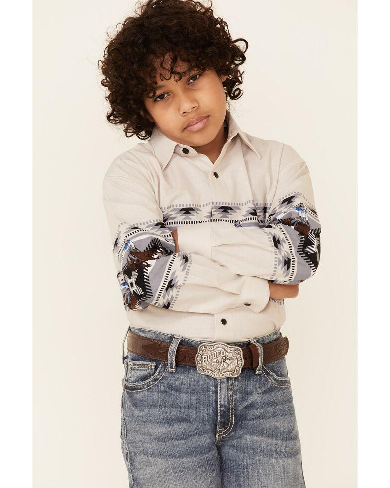 Panhandle Boys' Beige Rodeo Aztec Border Print Long Sleeve Western Shirt , Beige/khaki, hi-res