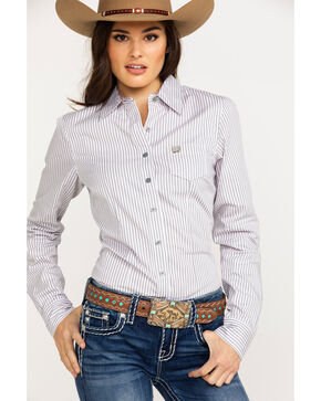 Cinch Women's Striped Logo Button Long Sleeve Western Shirt , Multi, hi-res