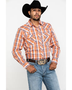 Wrangler Men's Orange Dobby Plaid Fashion Snap Long Sleeve Western Shirt , Orange, hi-res