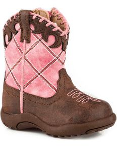 Roper Infant Girls' Cowbaby Diamond Whipstitch Pre-Walker Cowgirl Boots - Round Toe, Pink, hi-res