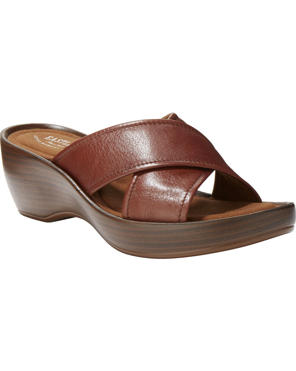 Eastland Women's Candice Crisscross Wedge Sandal , Dark Brown, hi-res