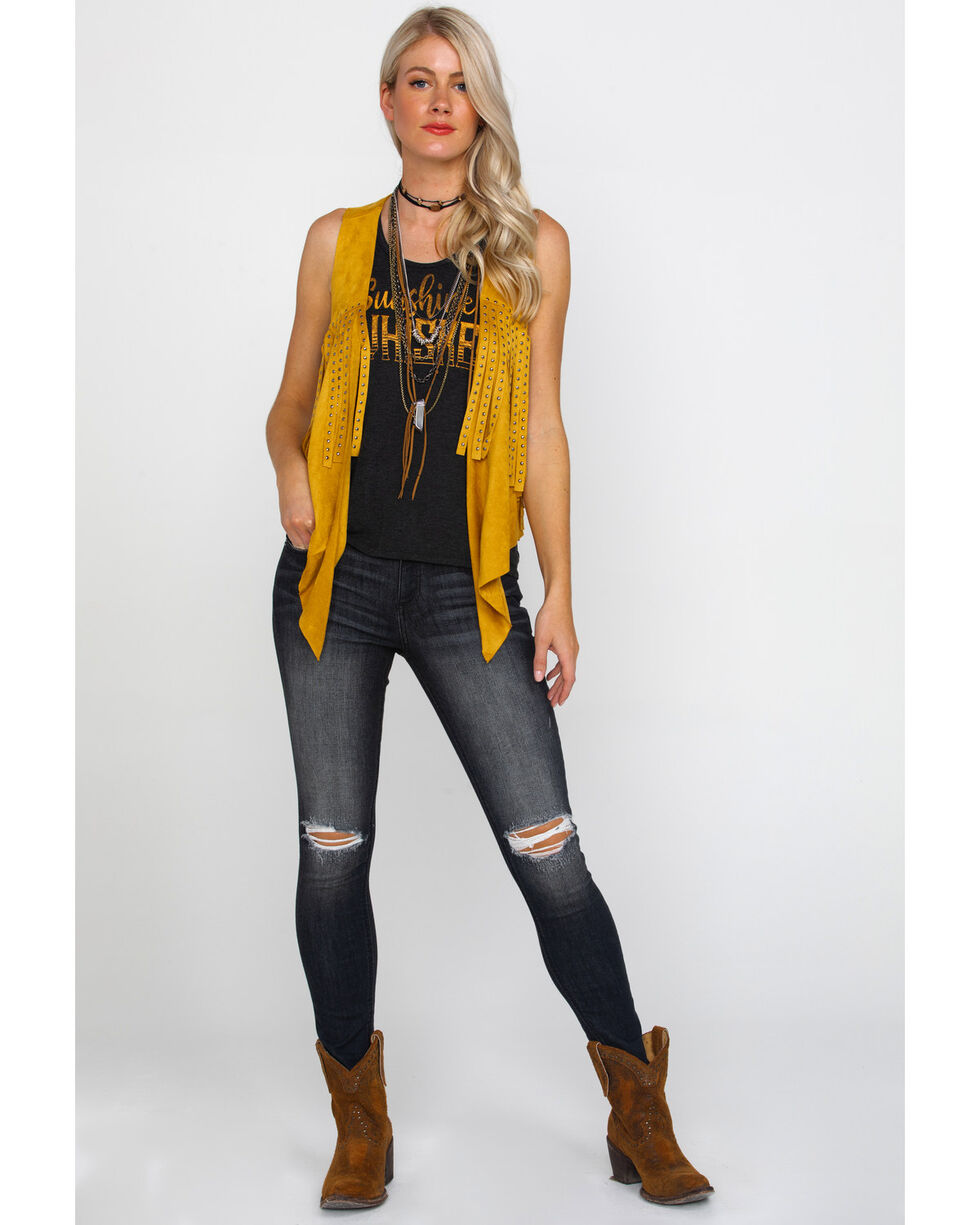 Vocal Women's Mustard Faux Suede Studded Fringe Vest , Dark Yellow, hi-res