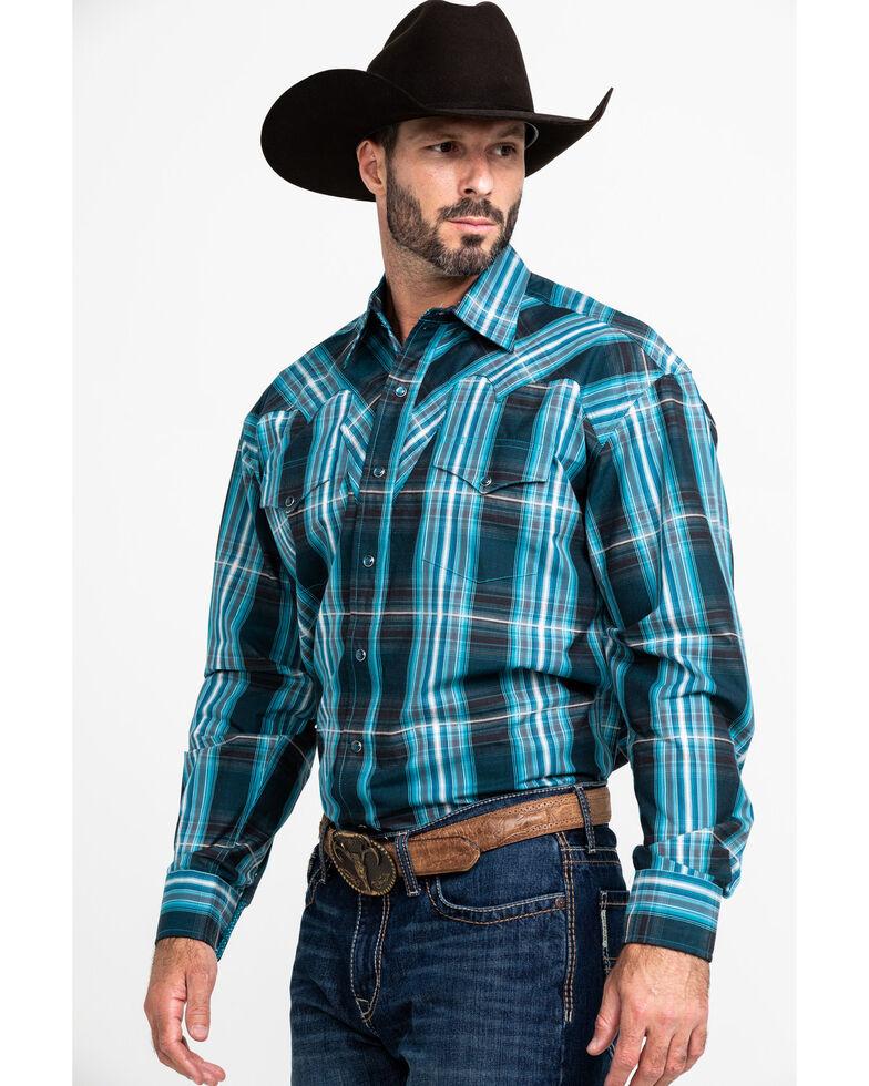 Stetson Men's Teal Slate Plaid Long Sleeve Western Shirt , Blue, hi-res
