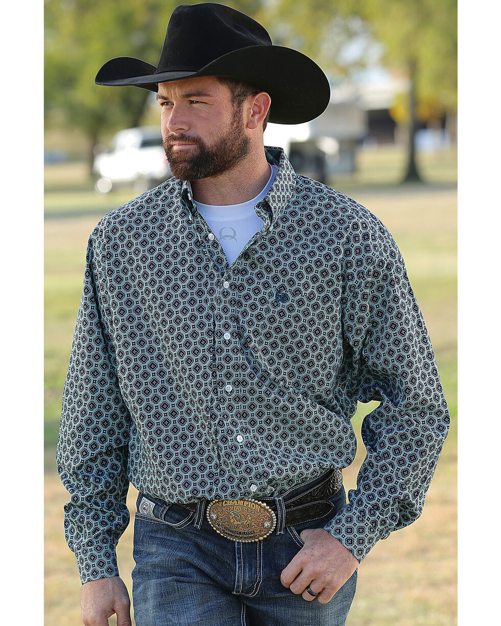 Cinch Men's Printed Plain Weave Long Sleeve Button Down Shirt, Multi, hi-res