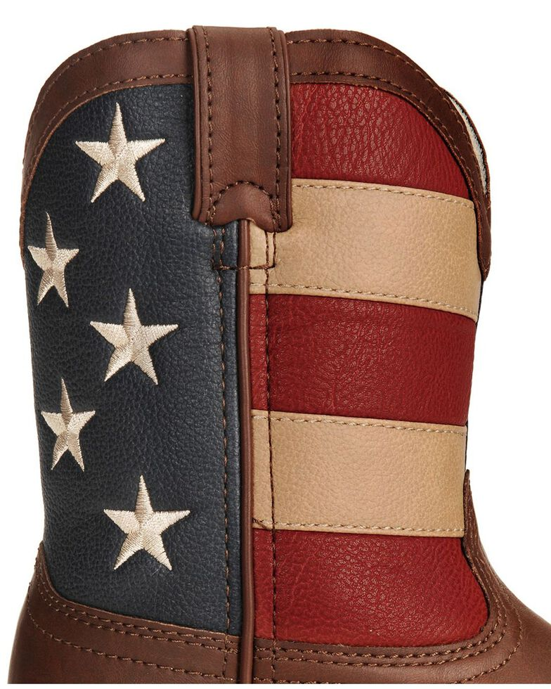 Durango Children's American Flag Cowboy Boots, Brown, hi-res