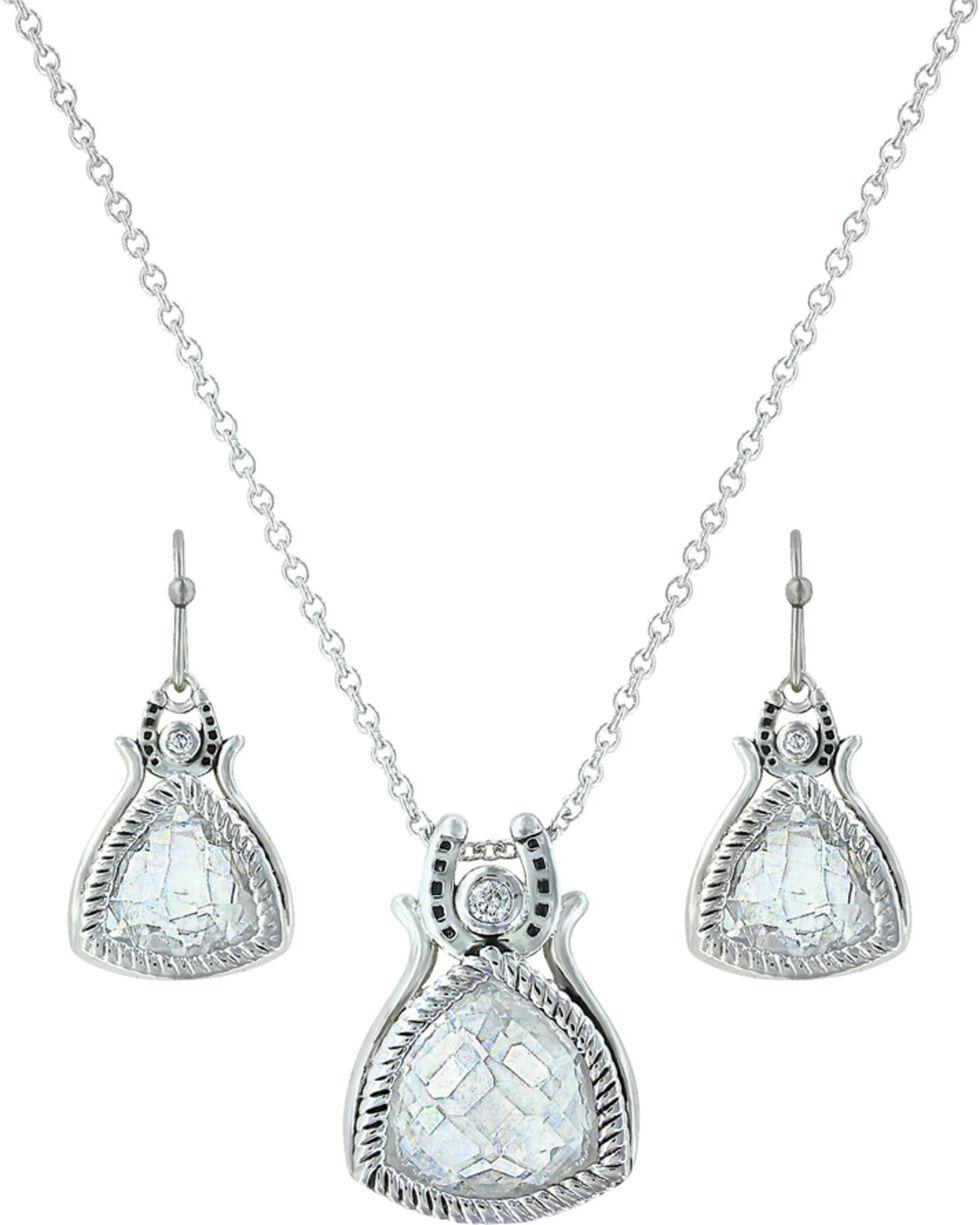 Montana Silversmiths Women's Hidden Treasure Horseshoe Jewelry Set, Silver, hi-res