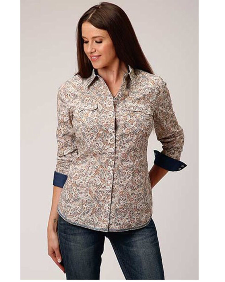 West Made Women's Brown Paisley Long Sleeve Western Shirt, Brown, hi-res