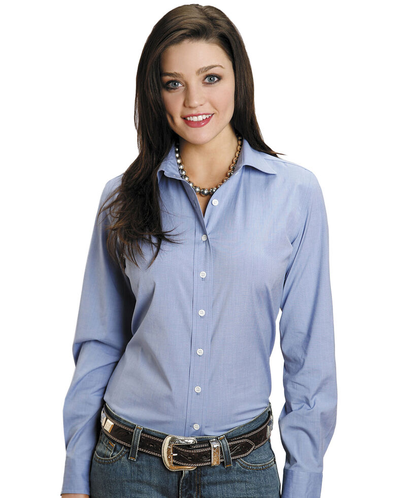 Stetson Women's End on End Solid Button-Down Long Sleeve Shirt, Blue, hi-res