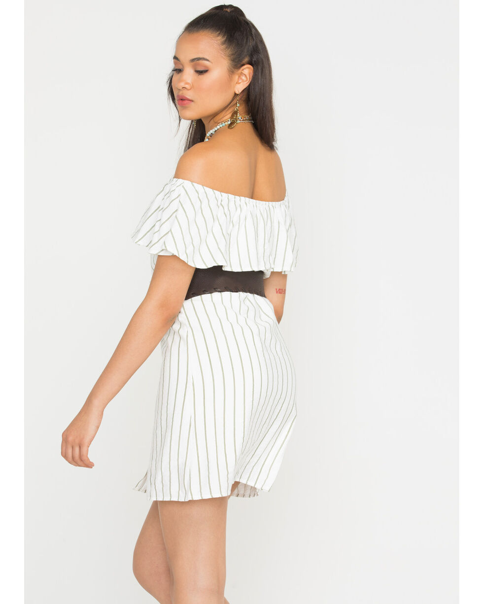 Sage the Label Women's White Striped Heartbreaker Dress , White, hi-res