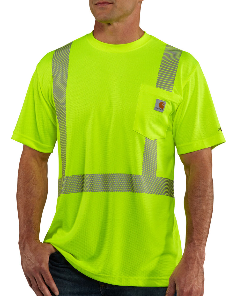 Carhartt Men's Short Sleeve Force High Visibility Class 2 T-Shirt, Lime, hi-res