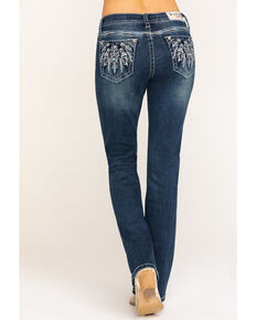 "Grace in LA Women's Dark Aztec 32"" Bootcut Jeans , Blue, hi-res"