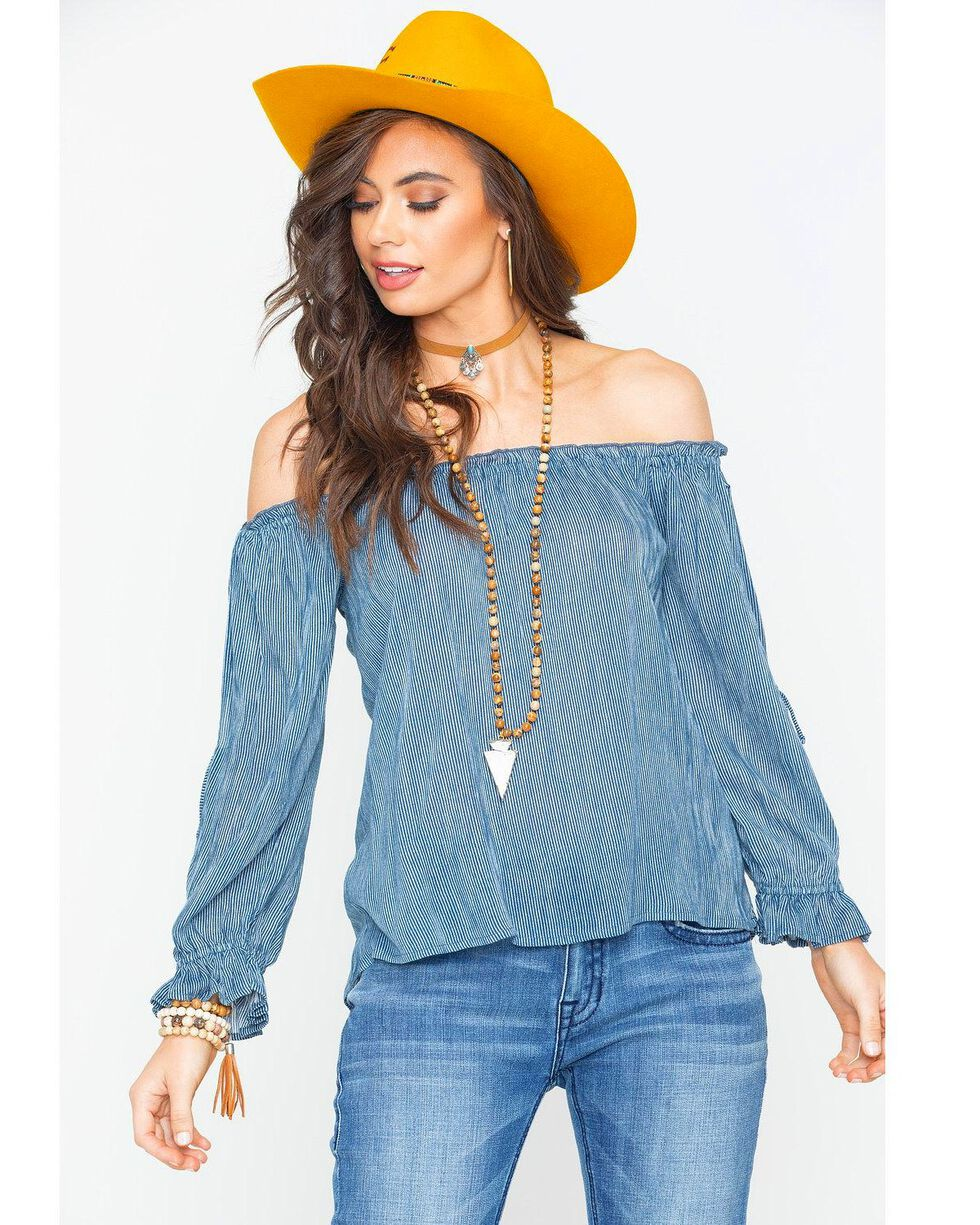 Rock & Roll Cowgirl Women's Navy Off The Shoulder Blouse , Navy, hi-res