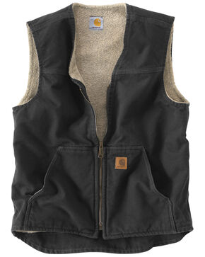 Carhartt Men's Sandstone Rugged Sherpa Lined Vest, Black, hi-res