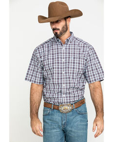 Ariat Men's Leeds Med Plaid Short Sleeve Western Shirt - Tall , Multi, hi-res