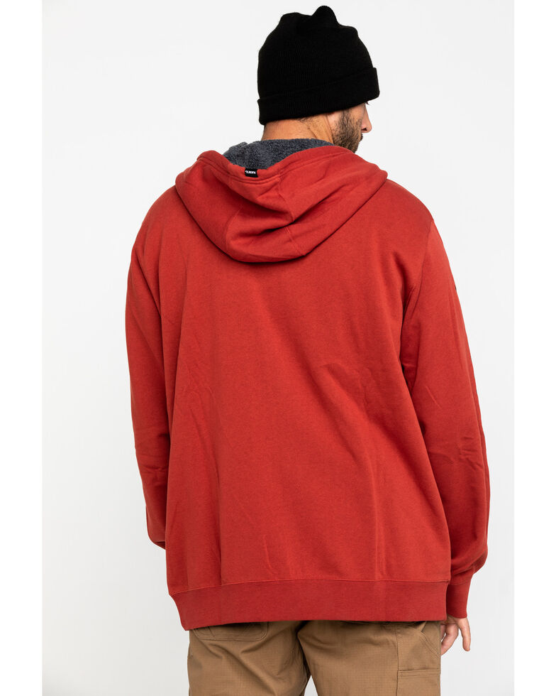 Hawx® Men's Red Sherpa Lined Full Zip Hooded Work Jacket , Red, hi-res