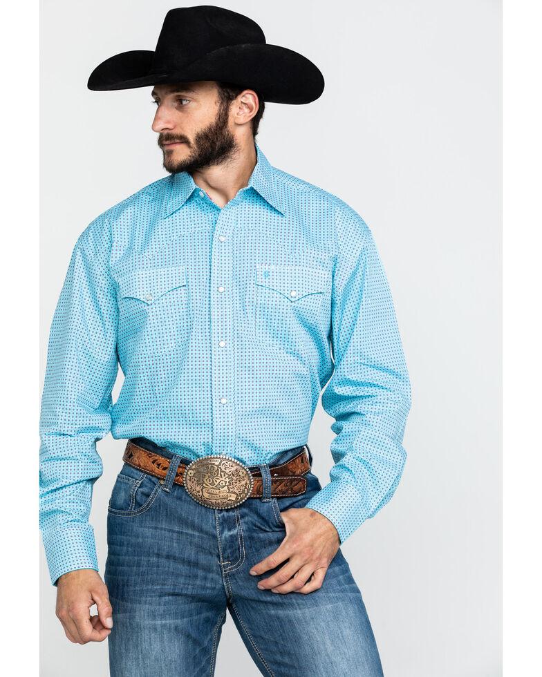 Stetson Men's Circuit Geo Print Long Sleeve Western Shirt , Blue, hi-res