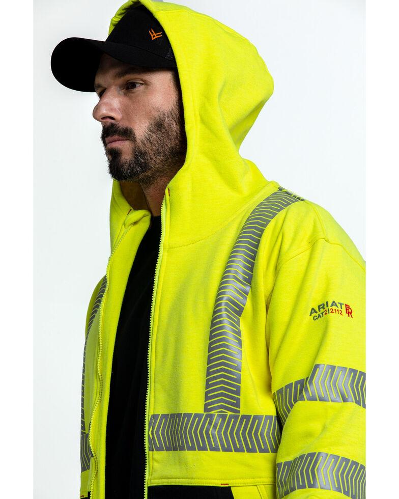 Ariat Men's FR Hi-Vis Full Zip Hooded Work Jacket - Big , Bright Yellow, hi-res