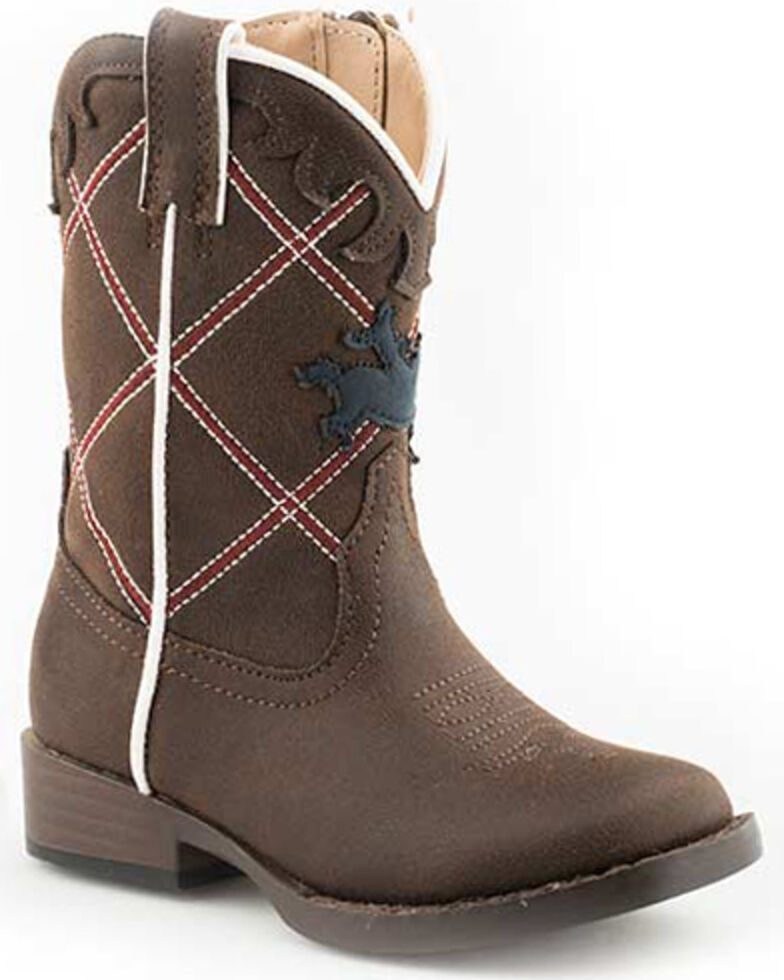 Roper Girls' Yeehaw Western Boots - Square Toe, Brown, hi-res