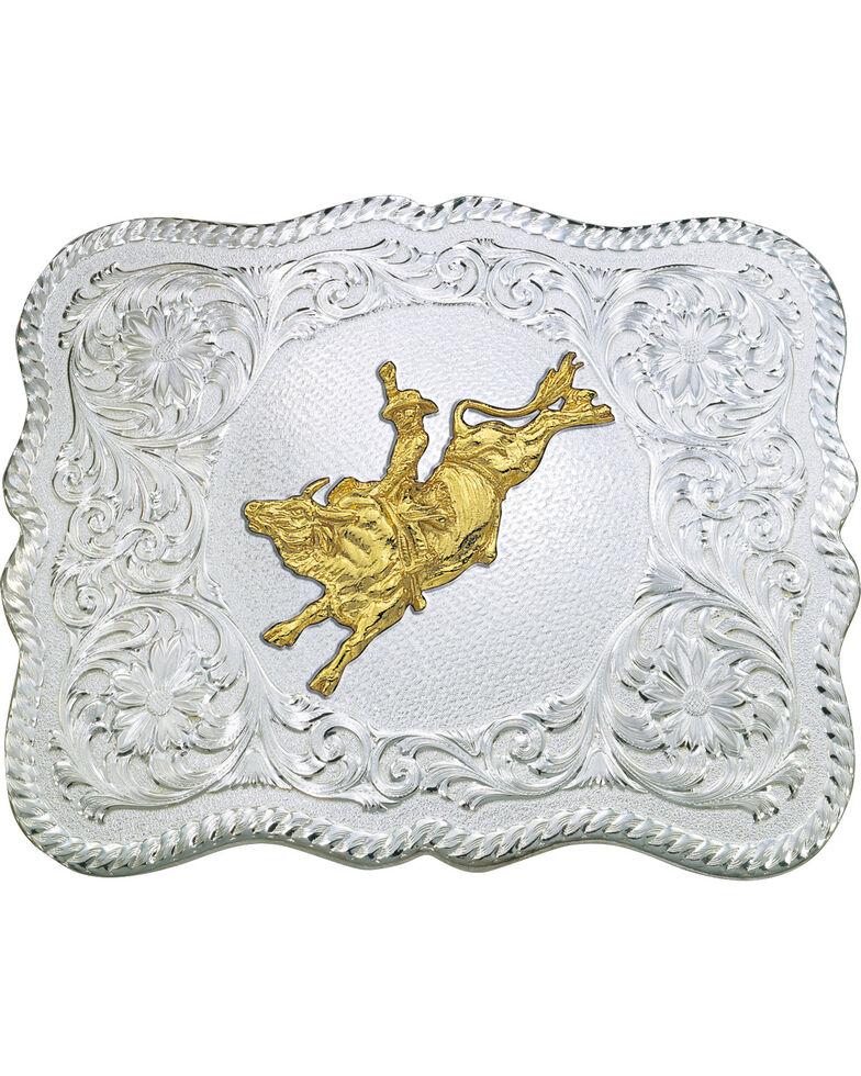 Montana Silversmiths Scalloped Bull Rider Belt Buckle, Multi, hi-res