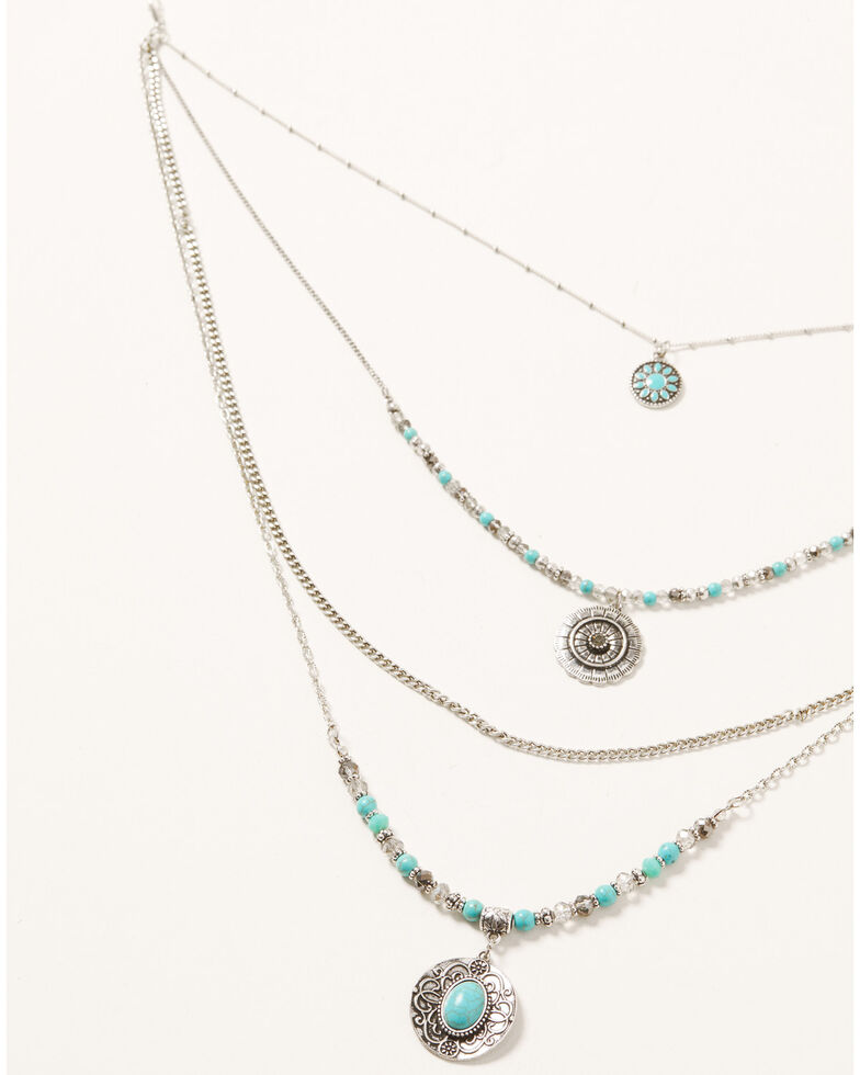 Shyanne Women's Shimmer Concho Four Tier Silver & Turquoise Necklace, Silver, hi-res