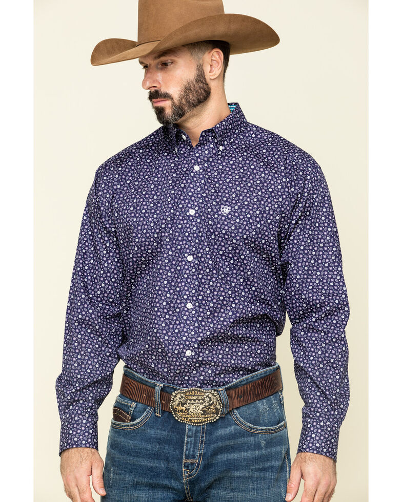 Ariat Men's Wrinkle Free Ulton Paisley Print Short Sleeve Western Shirt - Big , Navy, hi-res