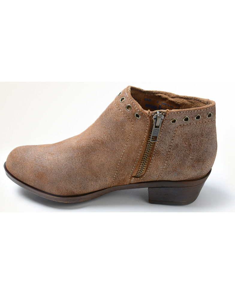 Minnetonka Women's Brenna Side Lace Booties - Round Toe, Lt Brown, hi-res