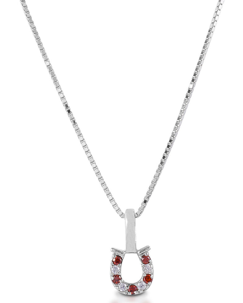 Kelly Herd Women's Red & Clear Horseshoe Necklace , Silver, hi-res