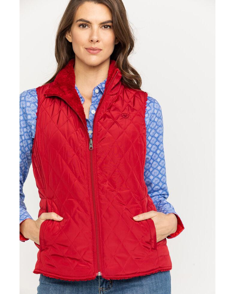 Ariat Women's Red Hallstatt Laylow Reversible Vest, Red, hi-res