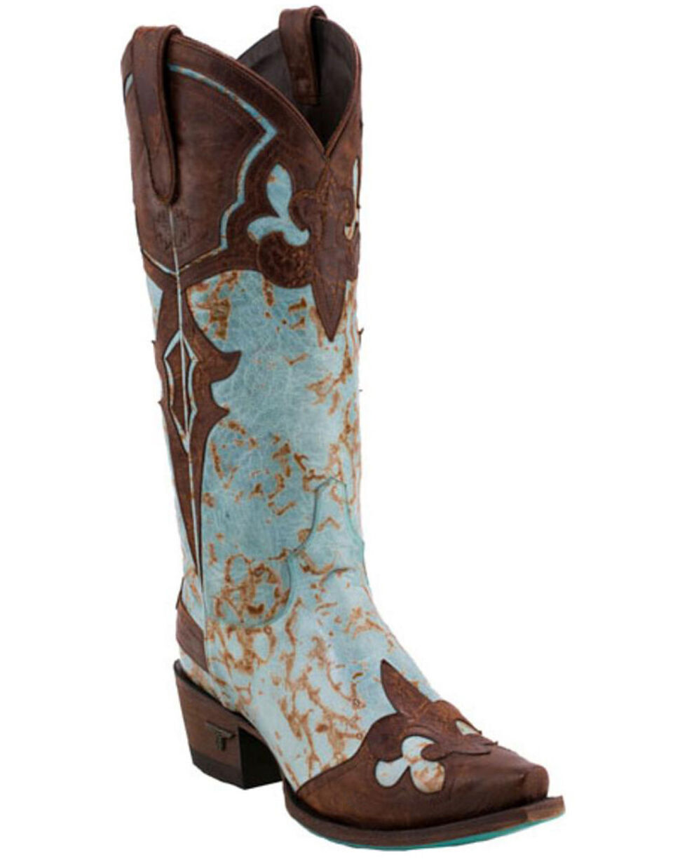 Lane Women's Masquerade Snip Toe Western Boots, Turquoise, hi-res