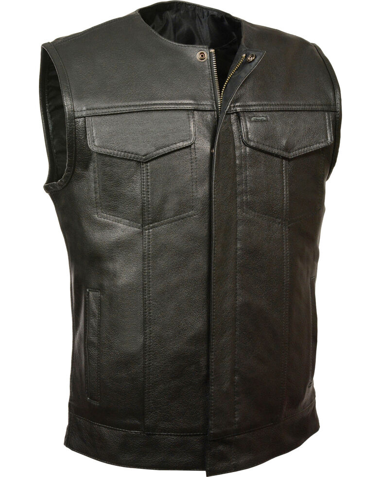 Milwaukee Leather Men's Black Collarless Zip Front Club Style Vest , Black, hi-res