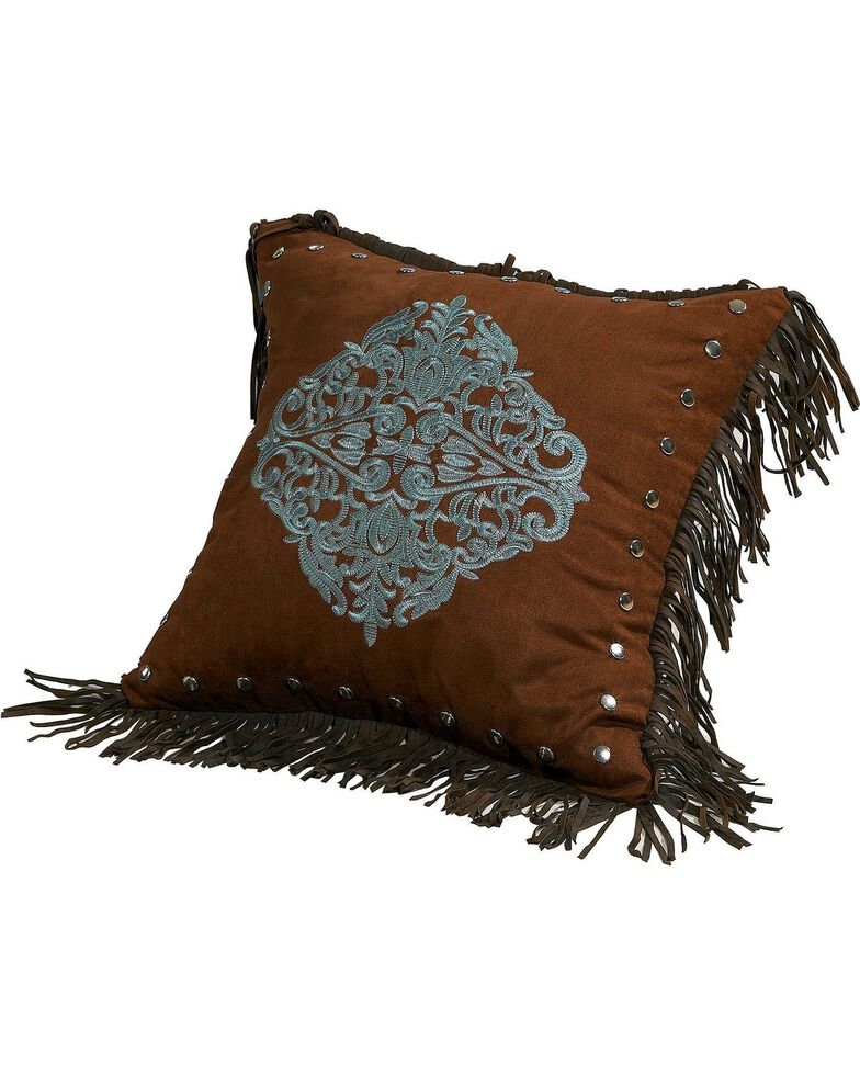 HiEnd Accents Bianca II Embroidered Tassel Pillow, Brown, hi-res