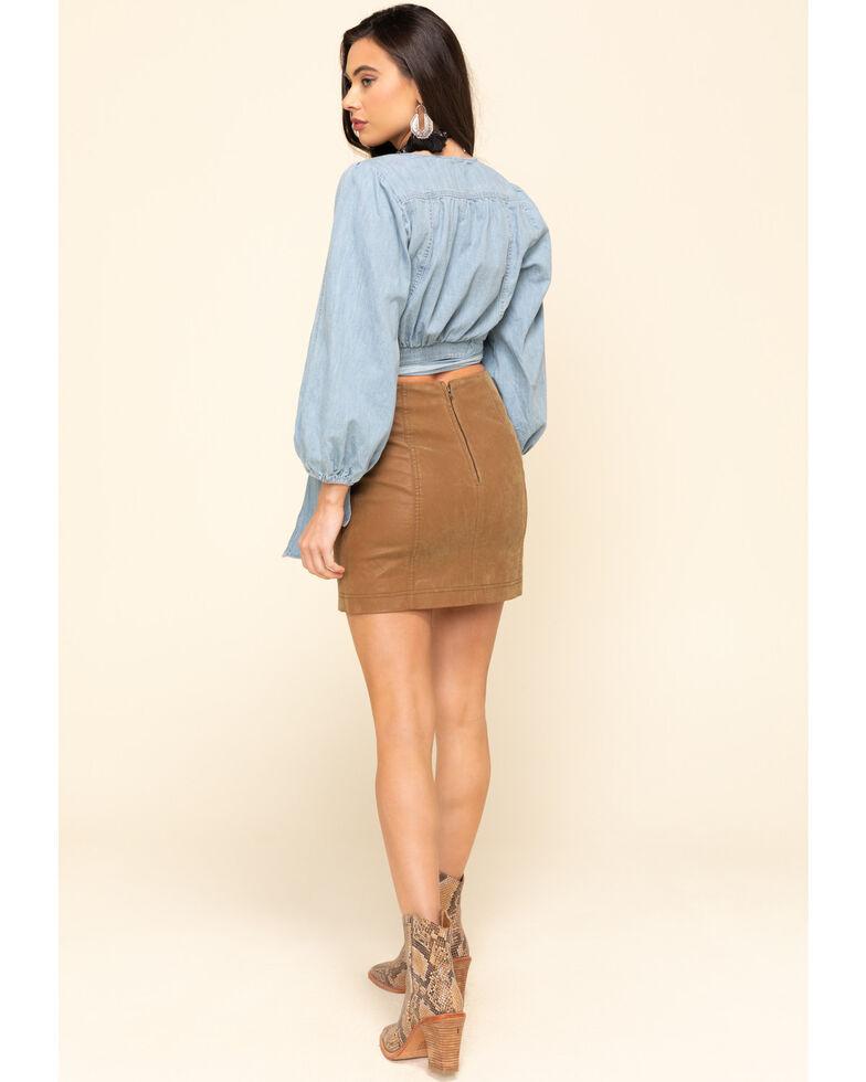 Free People Women's Chestnut Modern Femme Vegan Mini Skirt , Chestnut, hi-res