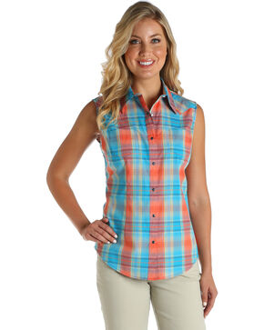 Wrangler Women's Coral Sleeveless Plaid Top , Coral, hi-res
