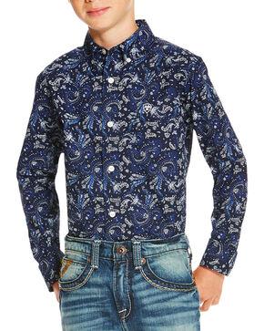 Ariat Boys' Paisley Patterned Long Sleeve Shirt, Indigo, hi-res