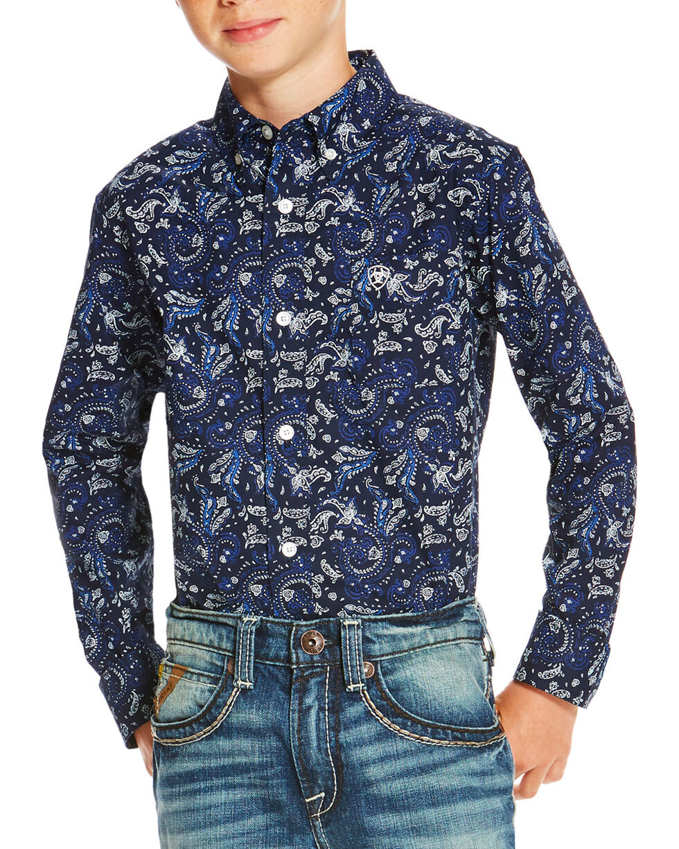 Ariat Boys' Paisley Patterned Long Sleeve Shirt, Indigo, hi-res