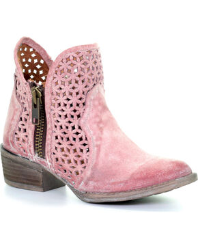 Circle G by Corral Women's Pink Cutout Booties - Round Toe , Pink, hi-res