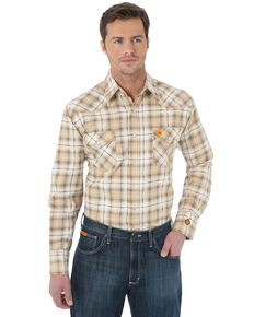 Wrangler 20X Men's FR Khaki Plaid Long Sleeve Work Shirt - Big & Tall , Beige/khaki, hi-res