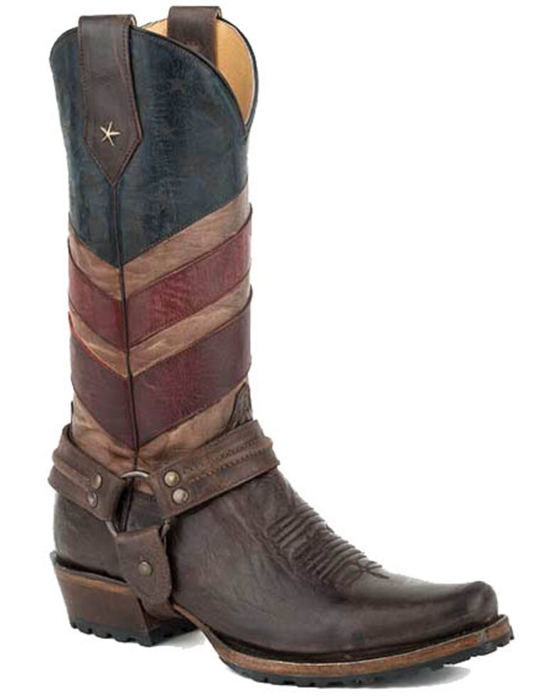 Roper Men's Old Glory Harness Western Boots - Snip Toe, Brown, hi-res
