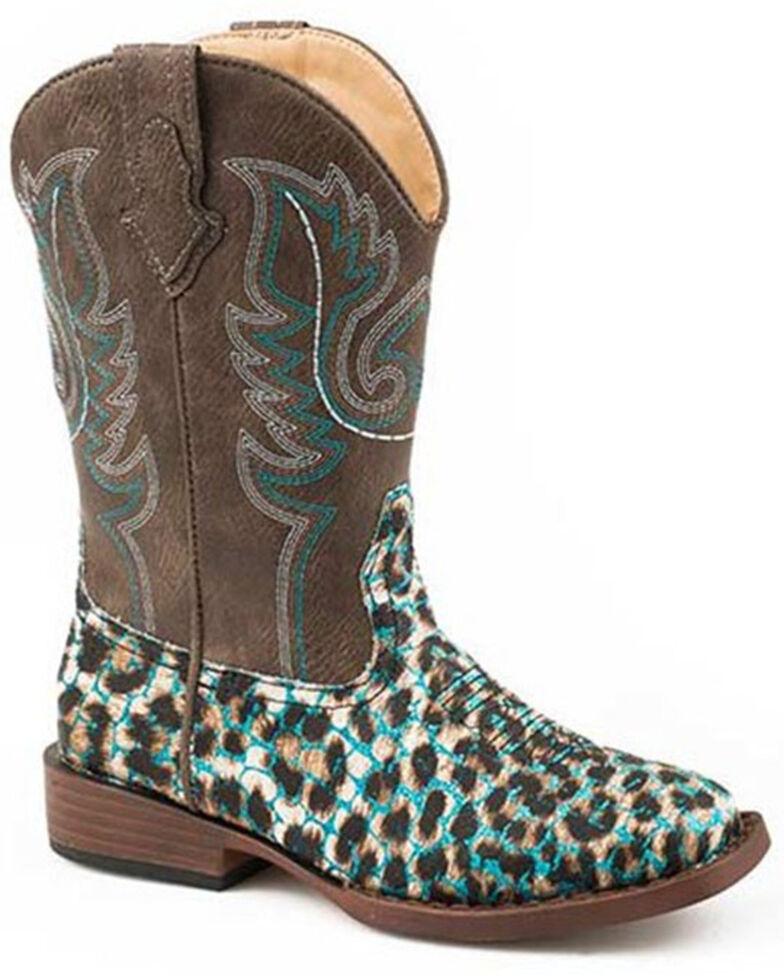 Roper Girls' Glitter Leopard Western Boots - Square Toe, Brown, hi-res
