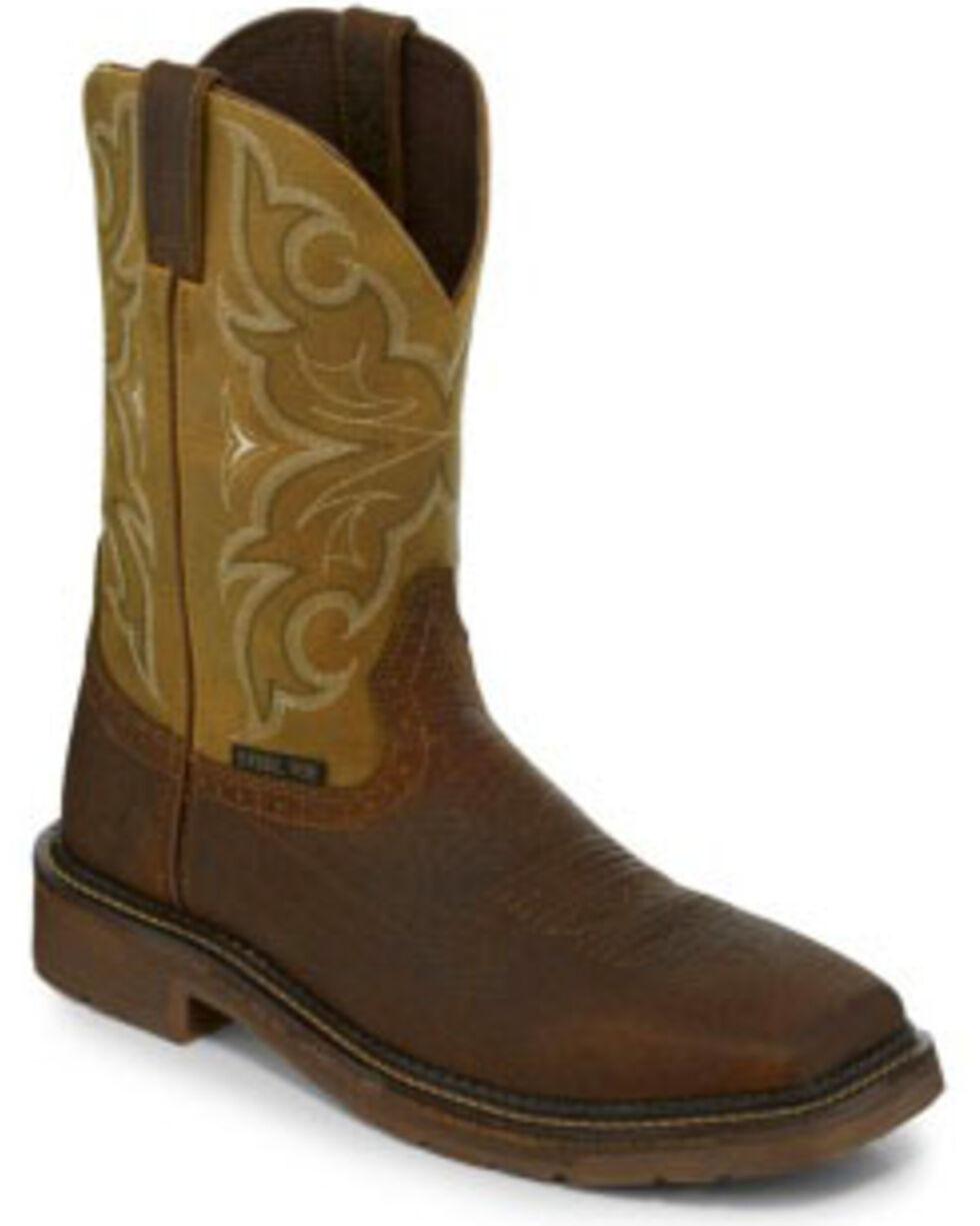 Justin Men's Cactus Western Work Boots - Steel Toe, Brown, hi-res