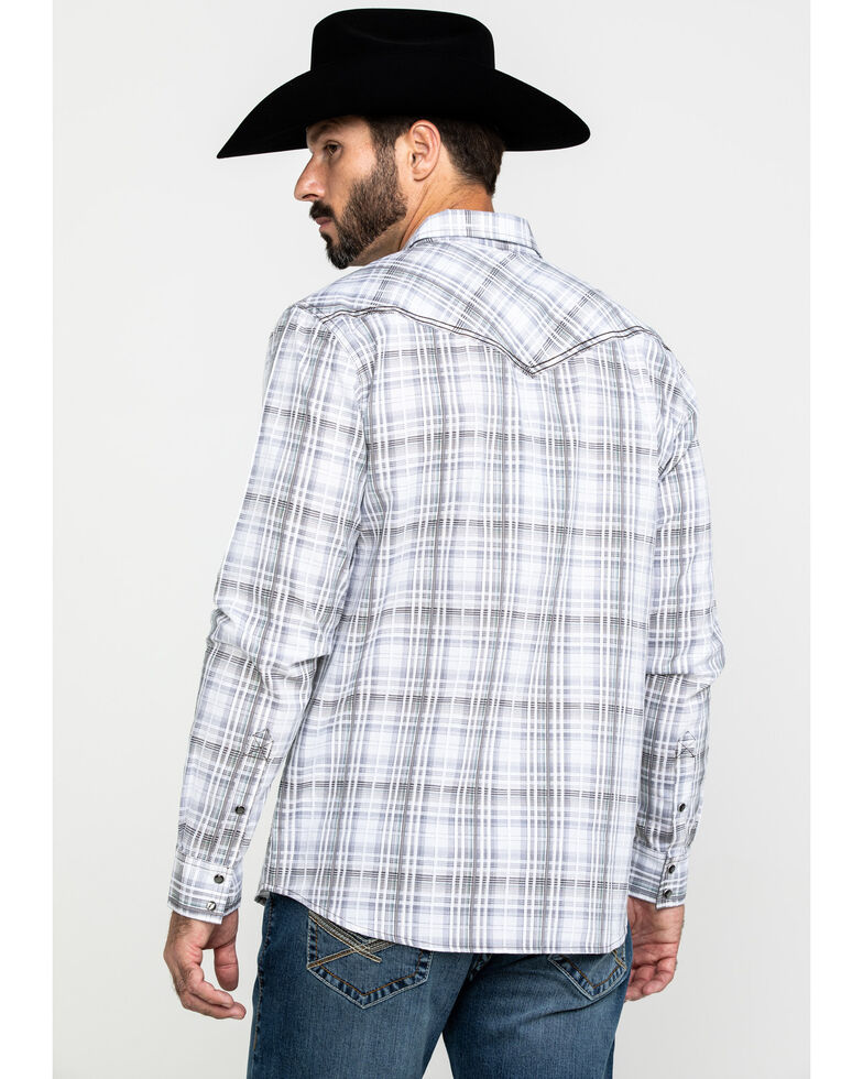 Cody James Men's Ghost Rider Plaid Long Sleeve Western Shirt , Grey, hi-res
