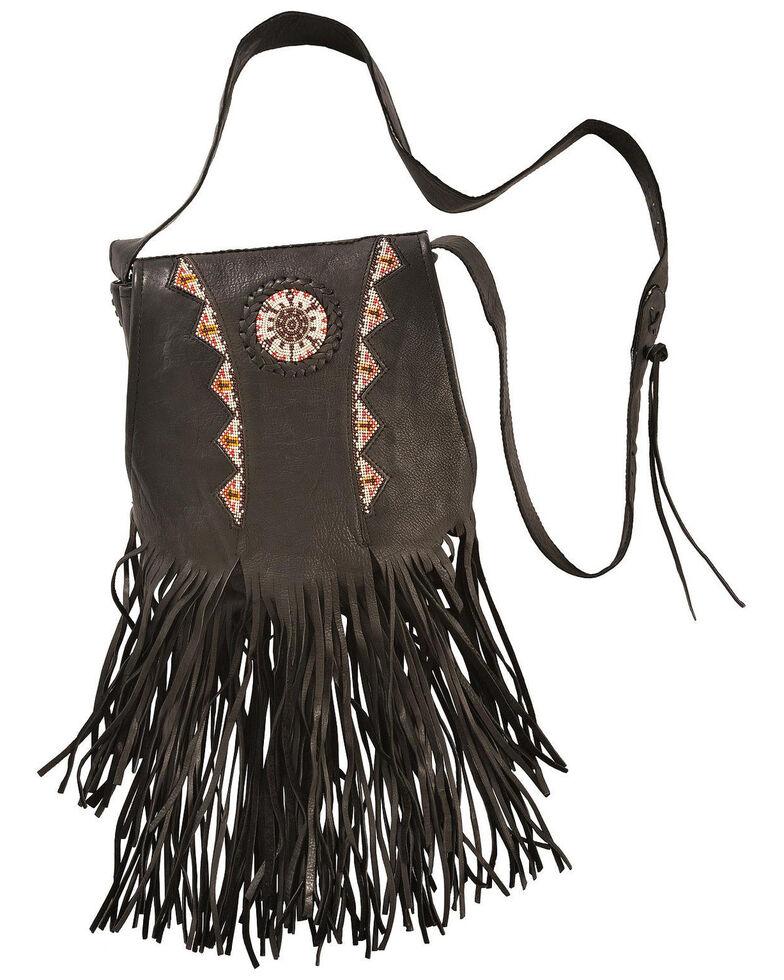 Beaded Kobler Leather Black Shoulder Bag, Black, hi-res