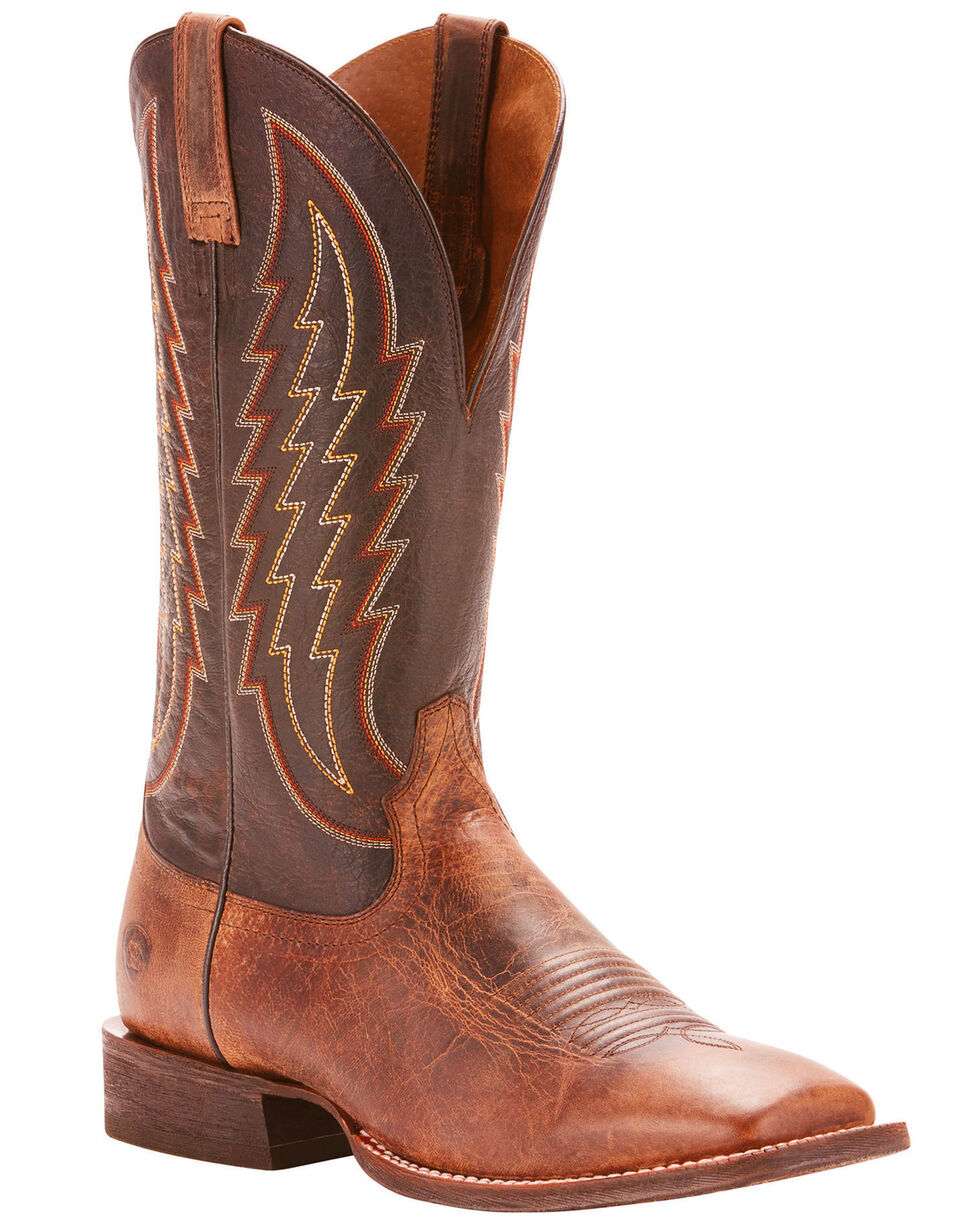 Ariat Men's Circuit Stride Weathered Tan Cowboy Boots - Square Toe, Tan, hi-res